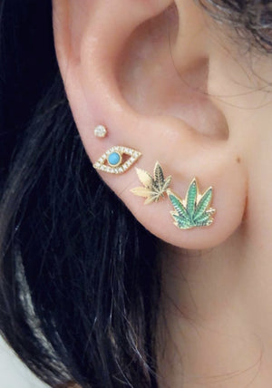 Load image into Gallery viewer, Green Enamel Leaf Earrings