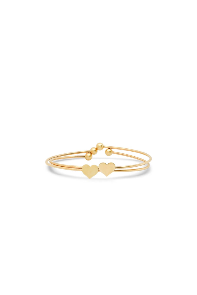 14K GOLD HEART BANGLE