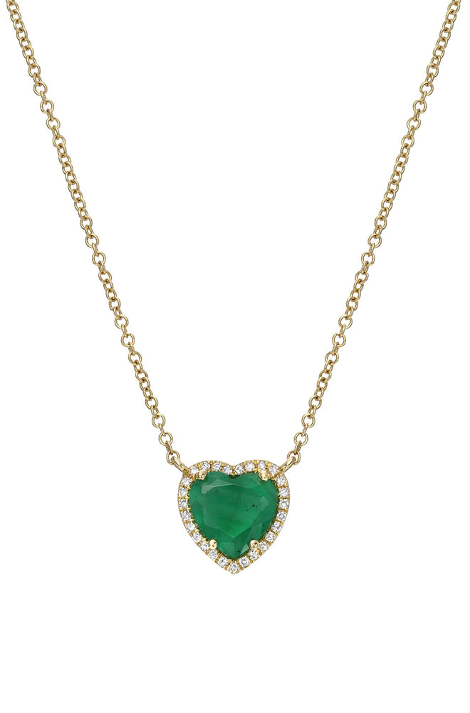 Load image into Gallery viewer, Diamond Emerald Heart Necklace