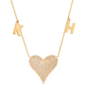 PAVE DIAMONS HEART INITIAL NECKLACE