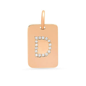 DIAMOND INITIAL TAG NECKLACE