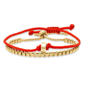 GOLD DISK RED STRING PROTECTION BRACELET