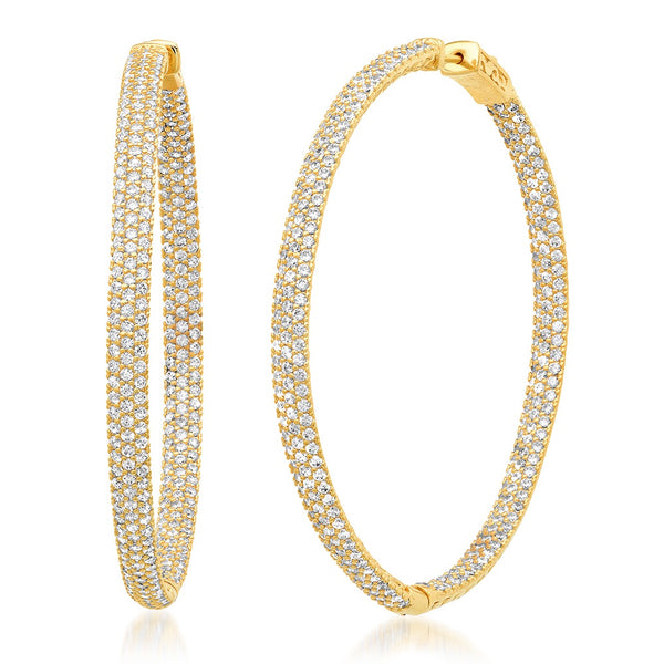 Pave inlay Hoops
