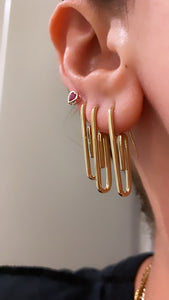 Gold Paper Clip Earring