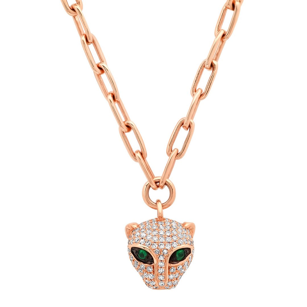 Diamond and Emerald Panther Charm & Chain Necklace