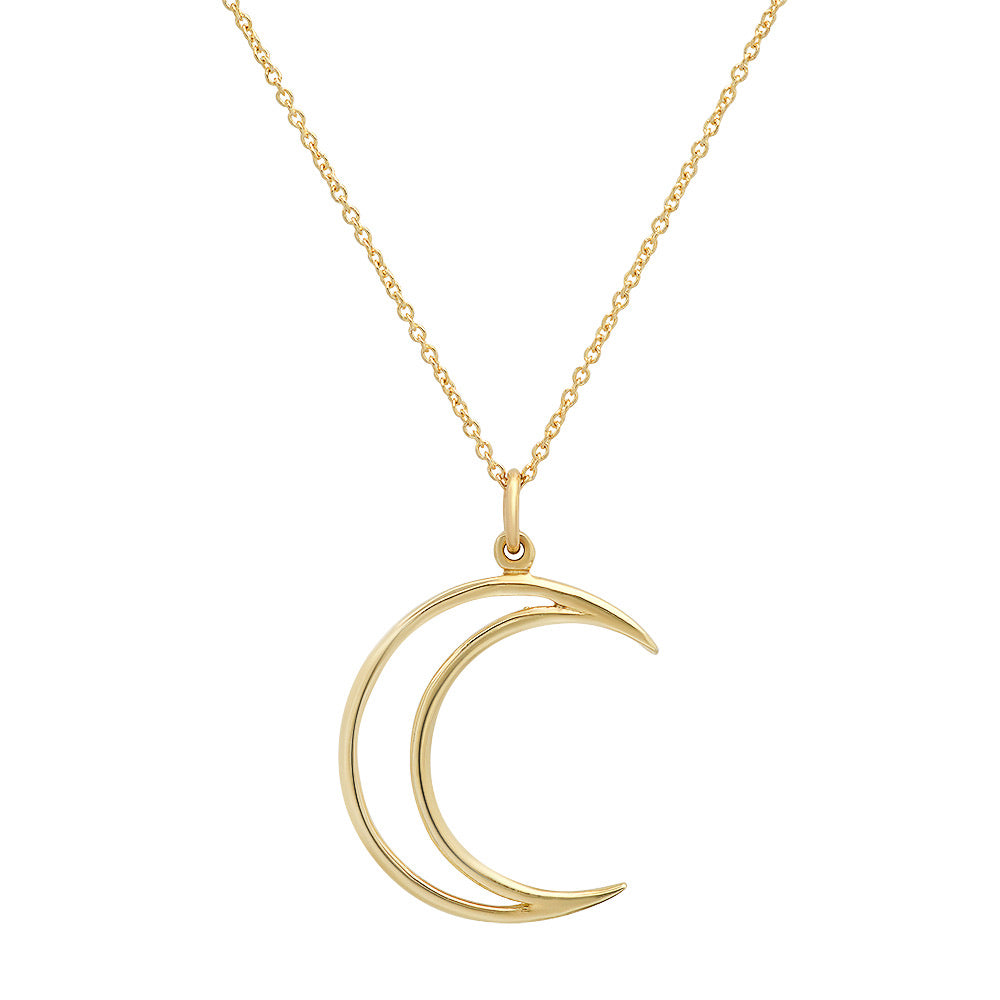 Gold Open Moon Necklace