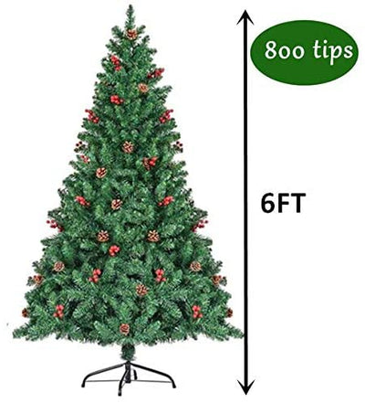6FT Christmas Tree with 800 Branches and 58 Pine Cones and Red Berries , Premium Hinged Artificial Holiday Christmas Pine Tree, Easy Assembly, Metal Hinges, Christmas Decorations Clearance, Green