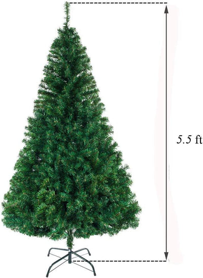 5.5FT Christmas Tree with 850 Branches, Premium Hinged Artificial Holiday Christmas Pine Tree, Easy Assembly, Metal Hinges, Foldable Base, Green
