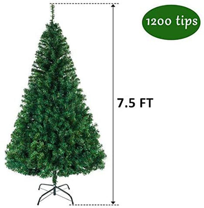 7.5FT Christmas Tree, Premium Hinged Artificial Holiday Christmas Pine Tree with 1200 Branches Green