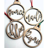 CUSTOM WOODEN NAME ORNAMENTS