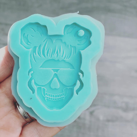 MTO {Double Bun Mom Skull} Keychain Mold