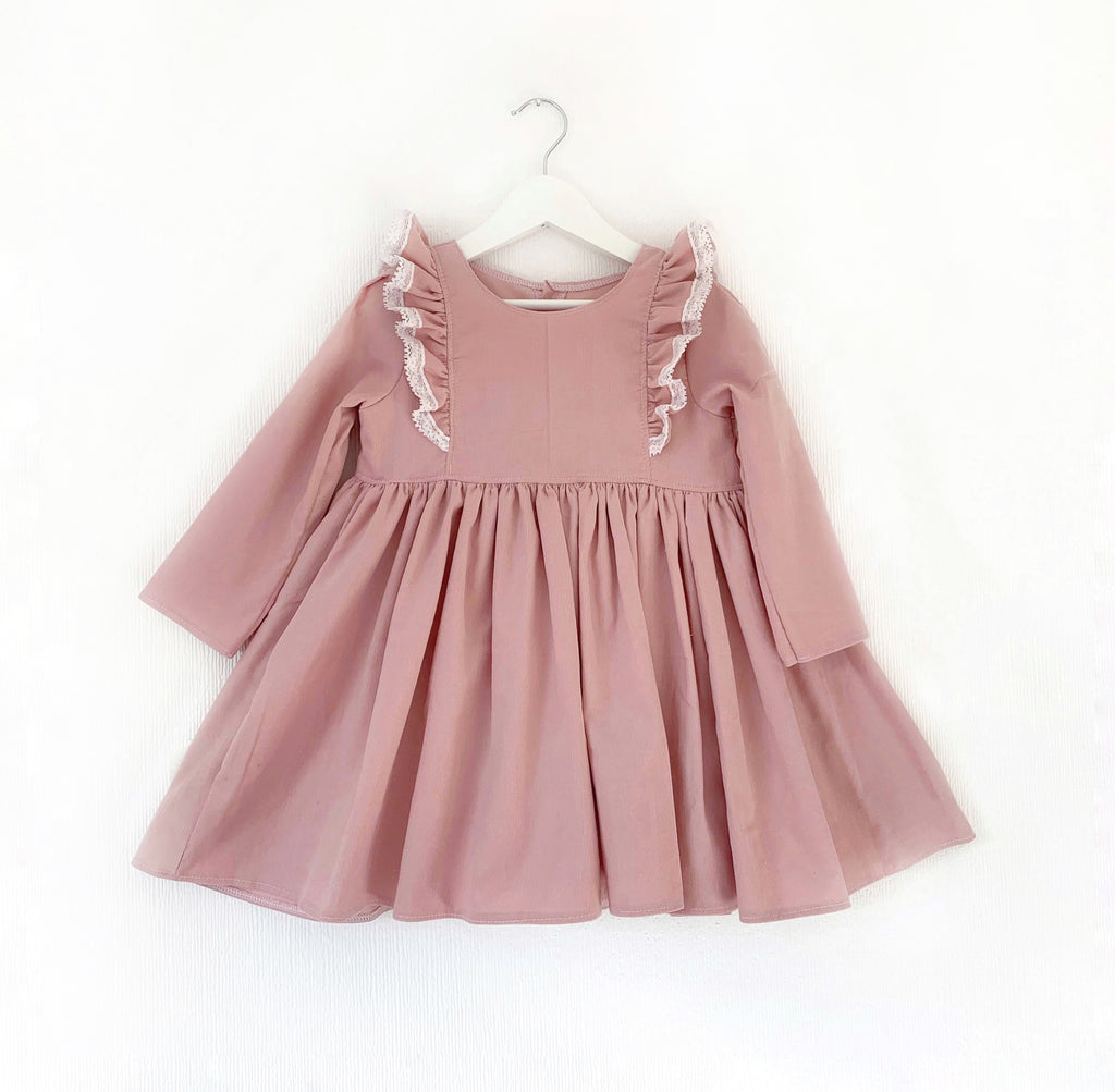 Pink needlecord; blouse romper or dress