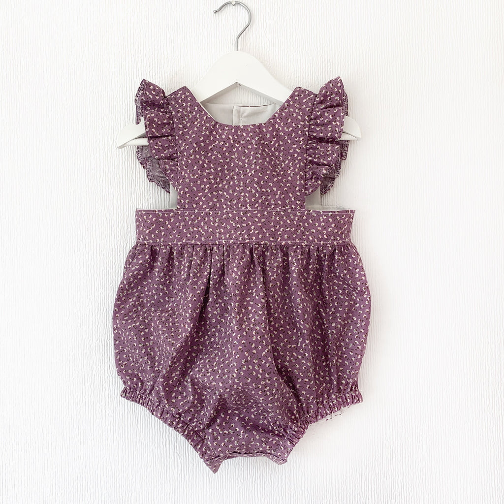 Mauve ditsy floral pinafore- dress or romper