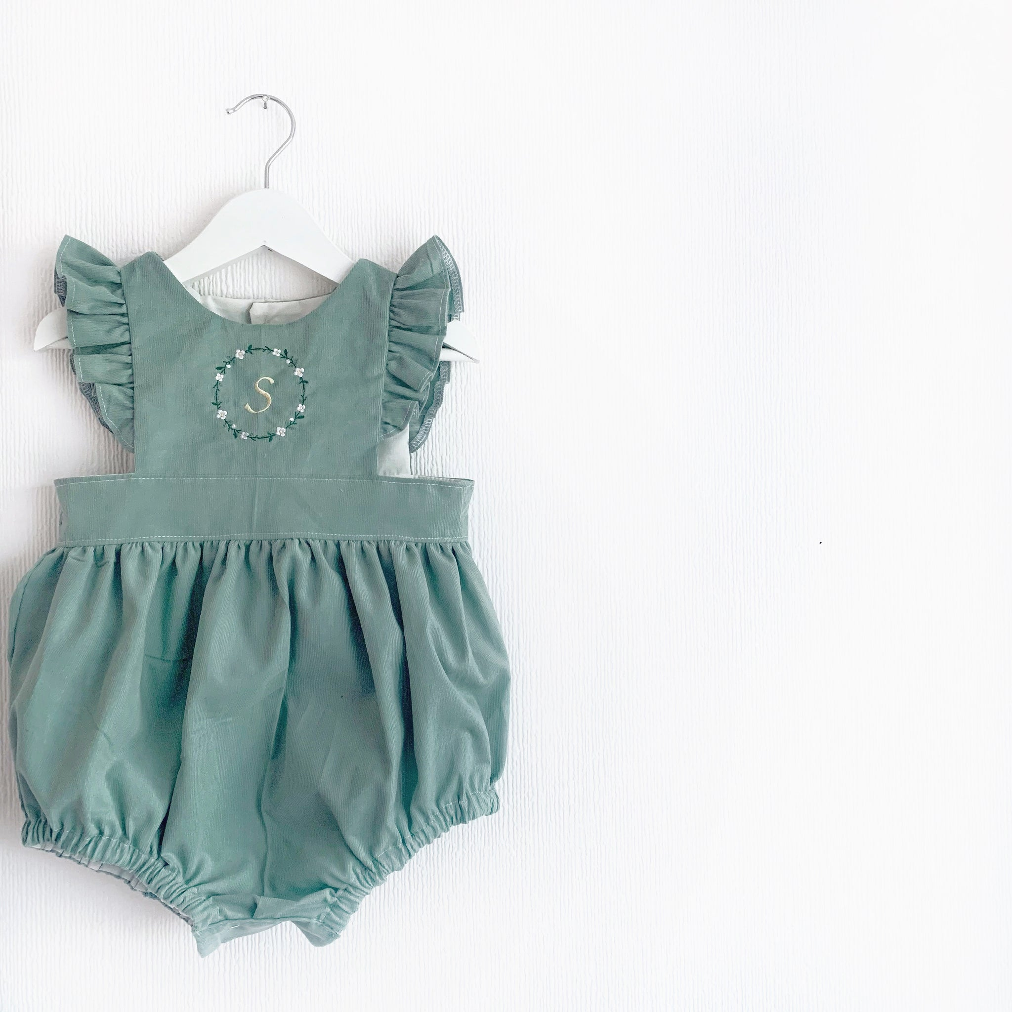 Sage daisy wreath pinafore; dress or romper