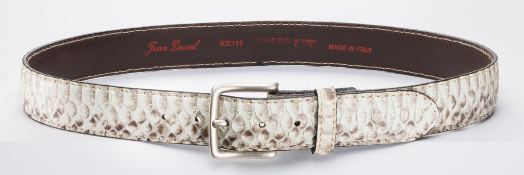 Natural Real Python Leather Belt