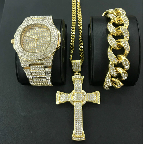 Luxury Hip Hop Diamond Cross Jewelry Combo Set