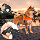 4.5M LED Flashlight Extendable Retractable Pet Dog Leash Lead with Garbage Bag