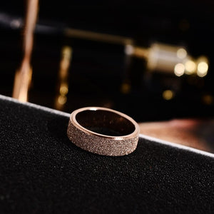 Rose Gold Color Frosted Finger Rings for Woman Man