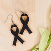 black ribbon acrylic earrings