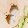 cowhide drop leather earrings