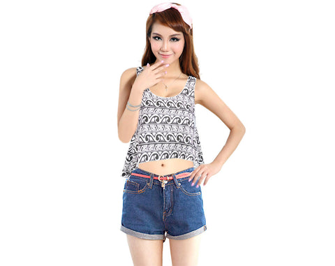 Black Floral Polyester Cotton Sleeveless T-Shirt