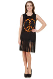 Black Sleeveless Peace Sign T-Shirt with Fringe