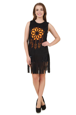 Black Sleeveless Dream Catcher Sign T-Shirt with Fringe