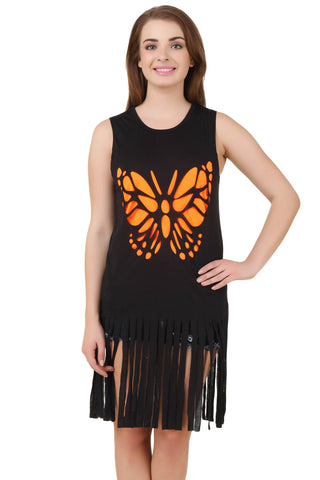 Black Sleeveless Butterfly T-Shirt with Fringe