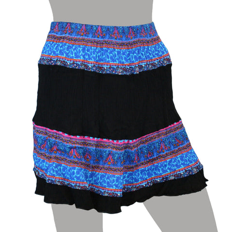 Mojeska Women's Multi Exotic Pattern Crinkle Mini Skirt Beach Summer Casual Wear