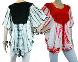 Womens Batik Embroidered Scoop Neck Batwing Poncho Blouse