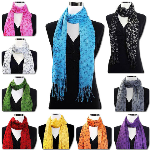 Lot of 100 Peace Sign Oblong Scarves Assorted Colors