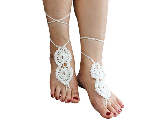 Pair Crochet White Barefoot Sandals Jewelry Anlet
