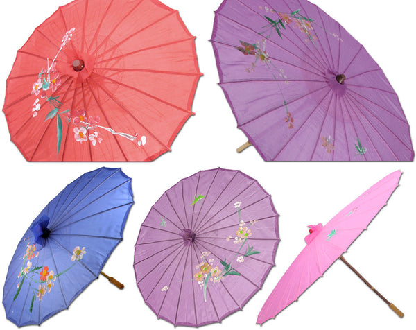 "Chinese Japanese Fabric Umbrella Parasol 32"" Floral Design"