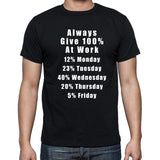 Always Give 100% at Work  T-shirt Funny Shirts