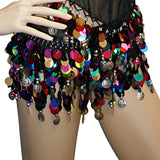 Lot of 100 Tribal Multi and Solid Color Hip Scarf Belly Pallette w/ Silver and Gold Coins