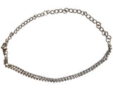 Silver Anklet with Clear Gems