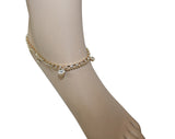Silver & Gold Chain Anklet w/ Clear Gems