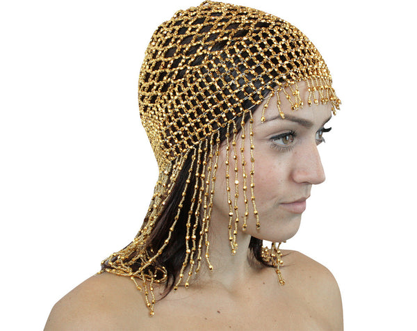 Exotic Cleopatra Beaded Belly Dance Head Cap