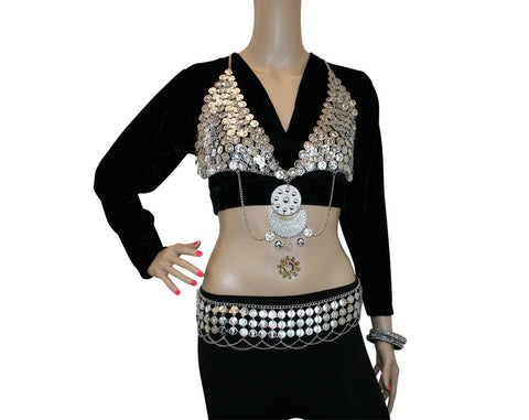 Hip Shakers Sexy Dangling Coin Bra Top Performance Costume Set