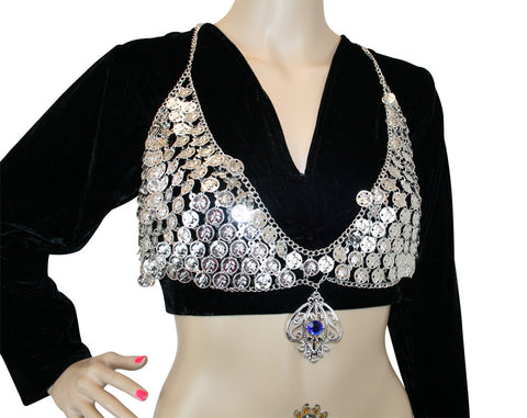 Hip Shakers Sexy Dangling Jewel Silver Coin Bra Top Performance Costume