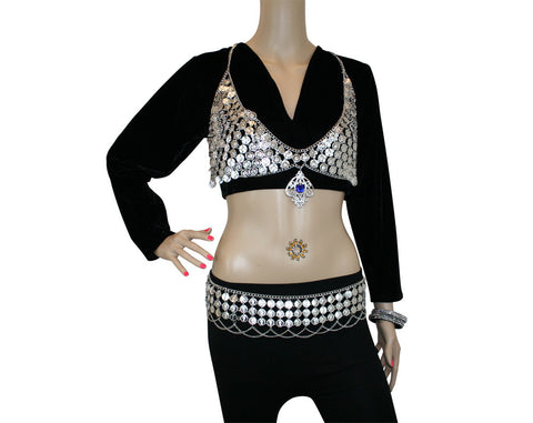 Hip Shakers Sexy Dangling Jewel Coin Bra Top and Coins Chains Belt Performance Costume Set