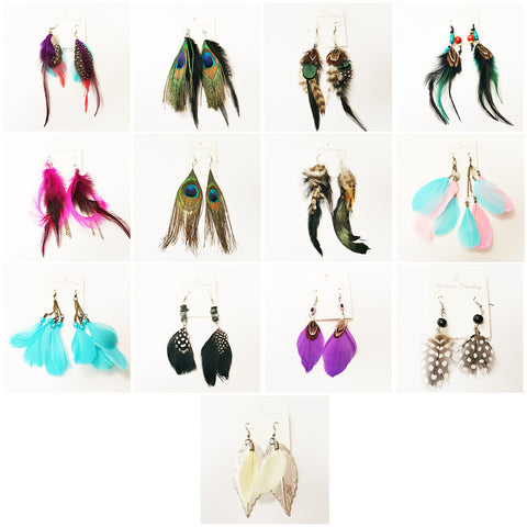 Women's Fashion Natural Feather Earrings Boho Jewelry Lot of 100 (Assorted colors/styles)