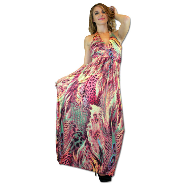 Mixed Animal Print Halter Top Maxi Dress