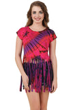 Women's Custom Tie Dye, Fringe Dress, Round neck