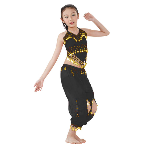 Kids Professional Belly Dance Genie Costume Set with Gold Coins