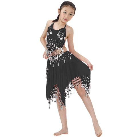 Kids Professional Belly Dance Halter top & Skirt Costume with Silver Coins