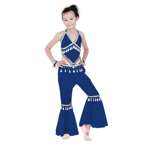 Kids Professional Belly Dance Genie Costume with Silver Sequin and Coins