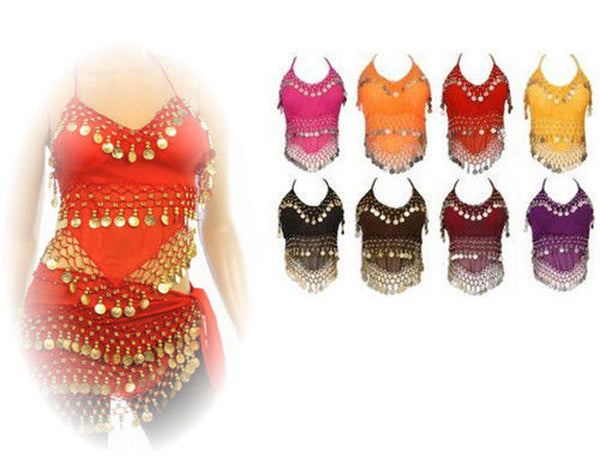 Womens Halter Camisole Belly Dance Top with Dangle Coins Lot of 100/ Assorted Colors, Silver and Gold Coins