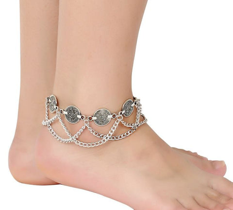 Belly Dance Bohemian Gypsy Hippie Anklet Foot Wrist Jewelry Dangling Coin