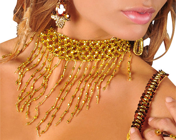 Choker Elastic Chain Mesh Beaded Necklace